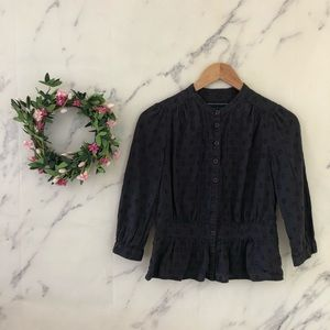 French Connection Polka Dot Embroidered Peplum Top